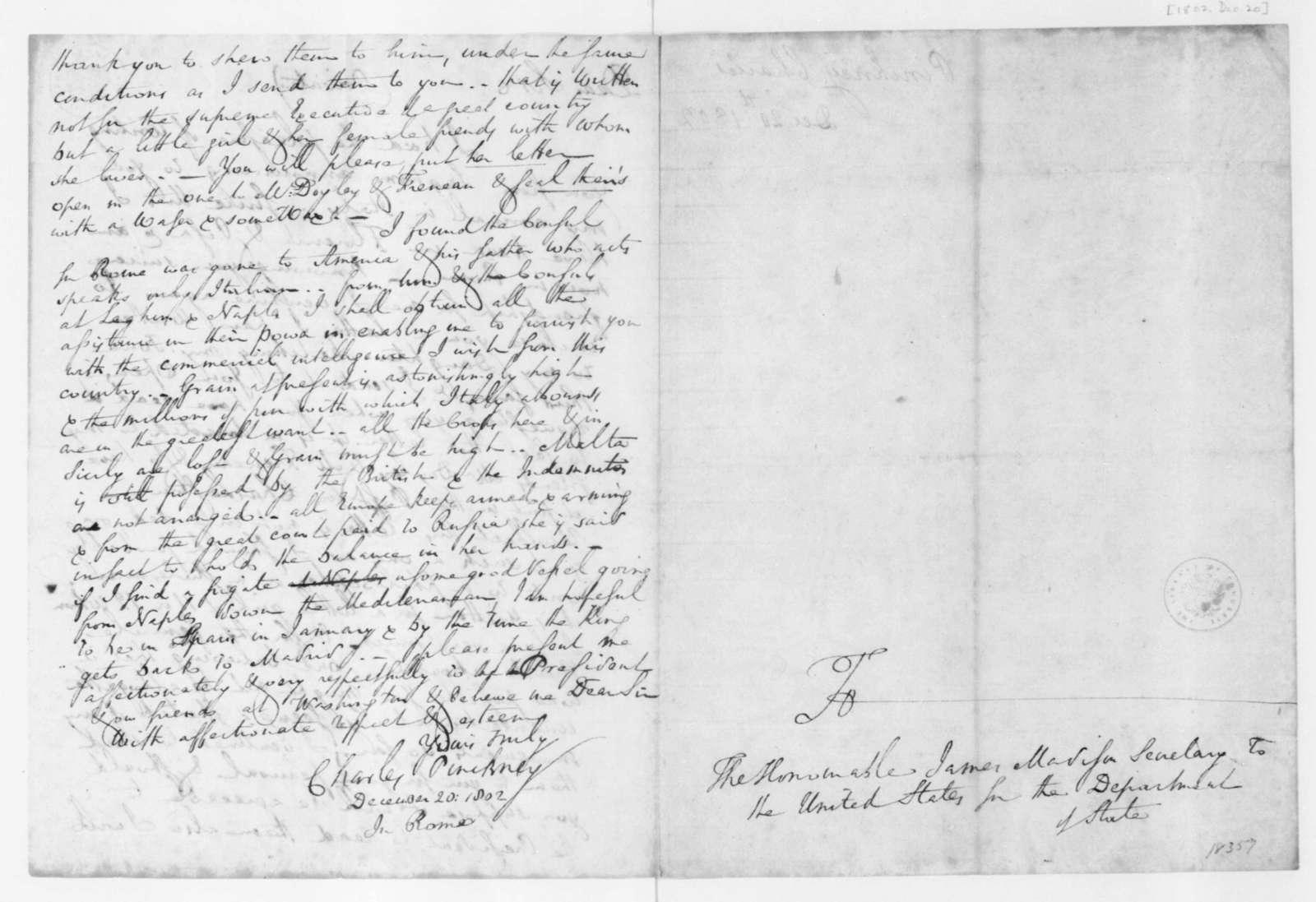 Charles Pinckney to James Madison, December 20, 1802.