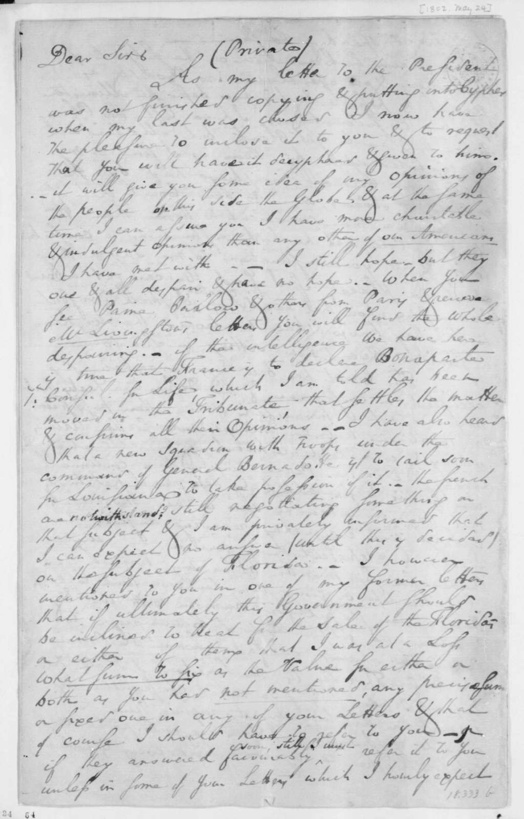 Charles Pinckney to James Madison, May 24, 1802.