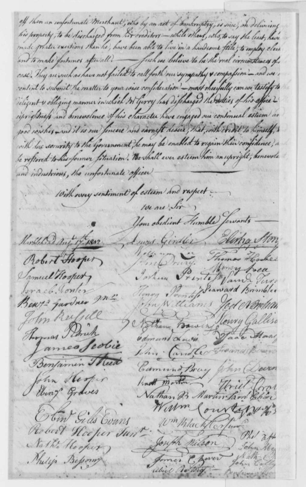 Citizens of Marblehead to Thomas Jefferson, August 17, 1802
