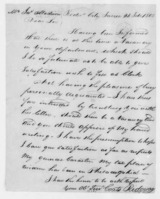 Coats Ridgway to James Madison, February 24, 1802.