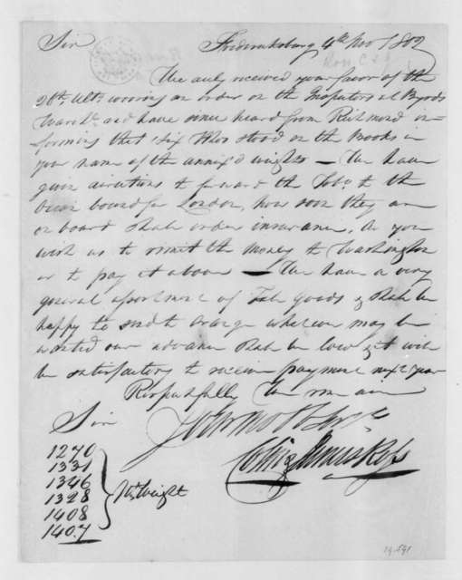 Colin and James Ross to James Madison, November 4, 1802.