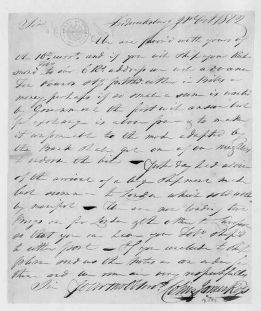 Colin and James Ross to James Madison, October 21, 1802.