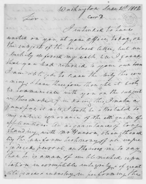Dabney Carr to James Madison, June 21, 1802.