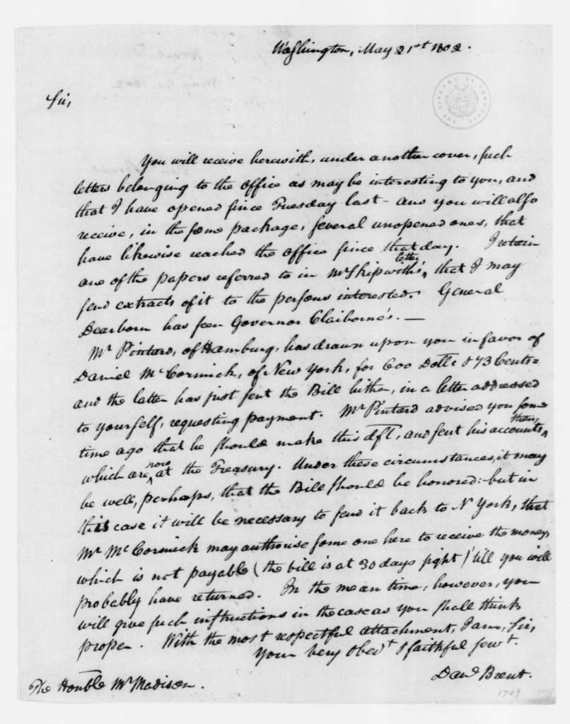 Daniel Brent to James Madison, May 21, 1802.