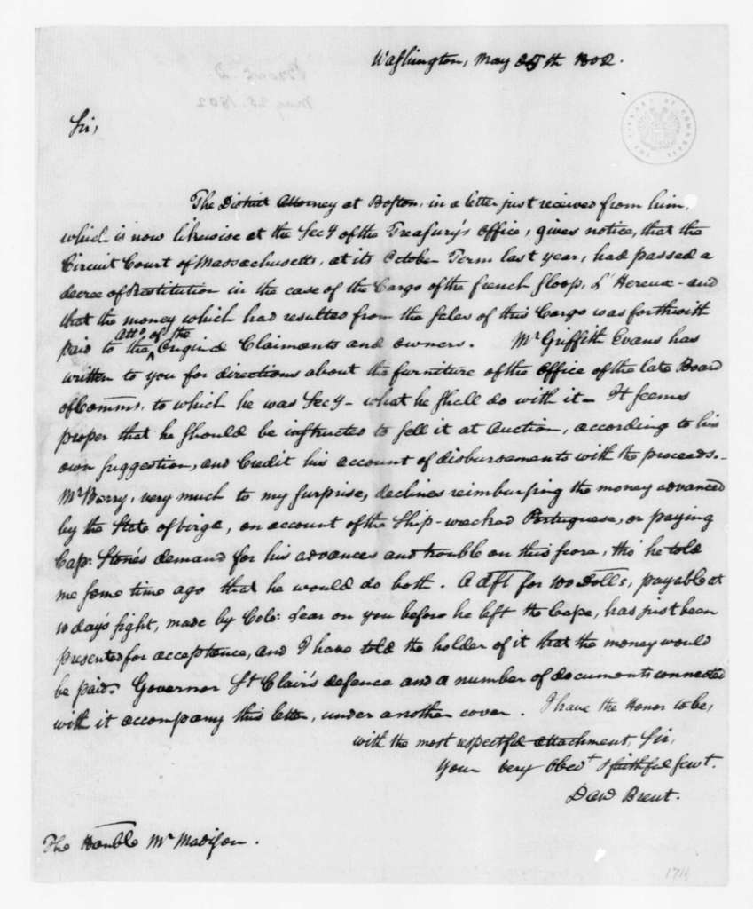 Daniel Brent to James Madison, May 25, 1802.