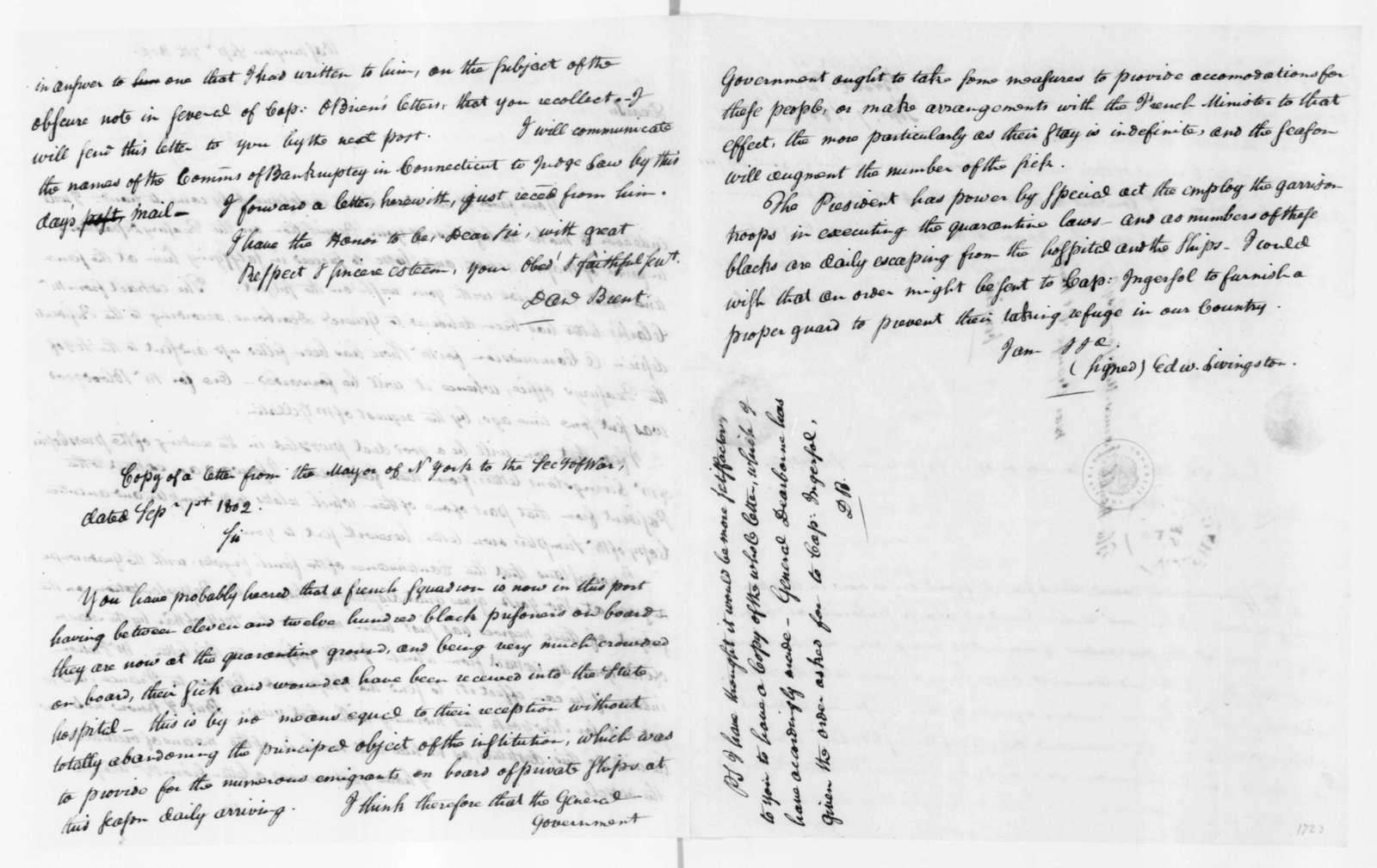 Daniel Brent to James Madison, September 7, 1802.