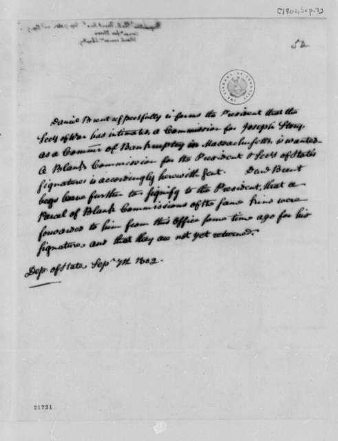 Daniel C. Brent to Thomas Jefferson, September 7, 1802