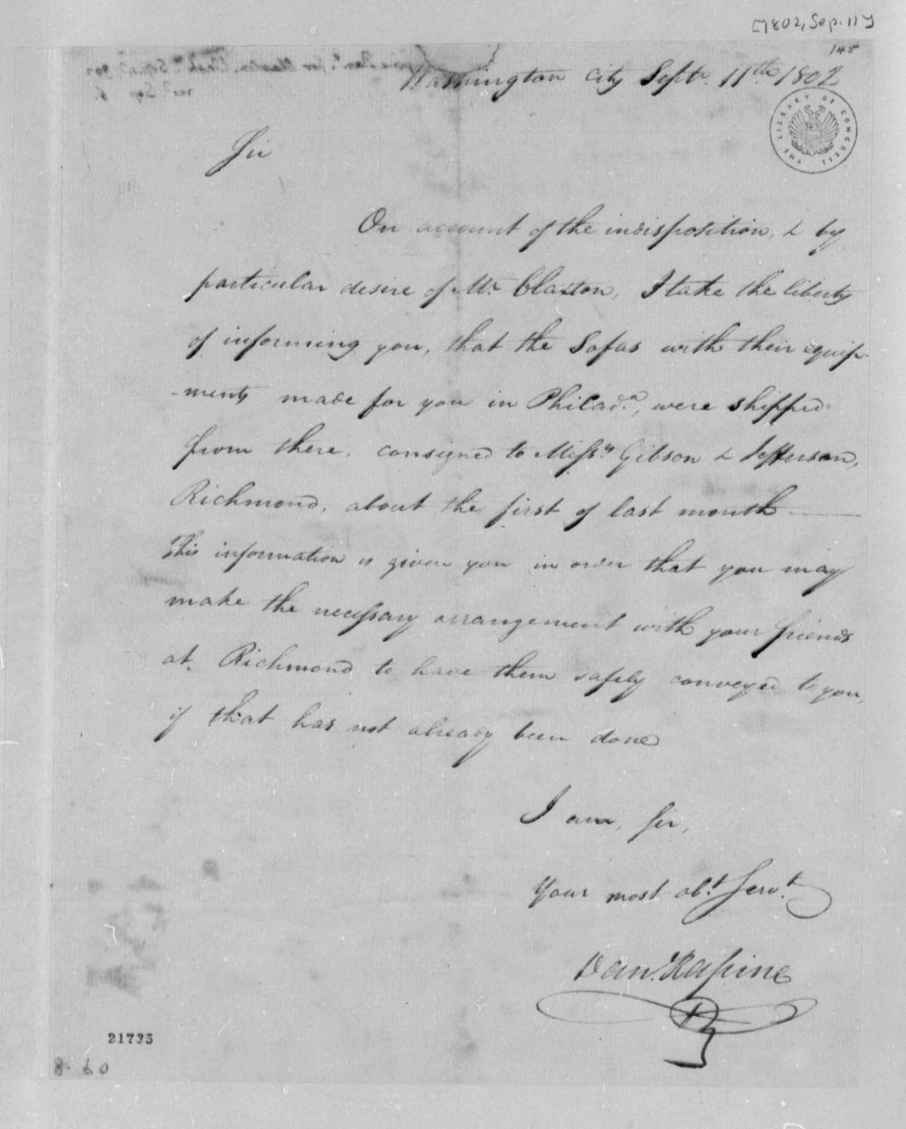 Daniel Rapine to Thomas Jefferson, September 11, 1802