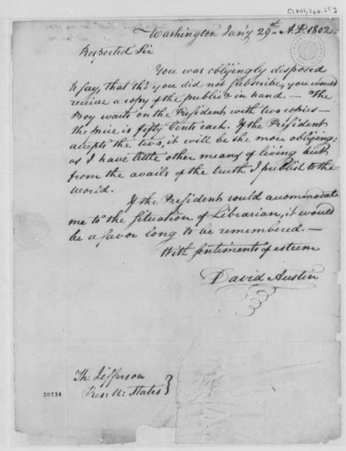 David Austin to Thomas Jefferson, January 29, 1802