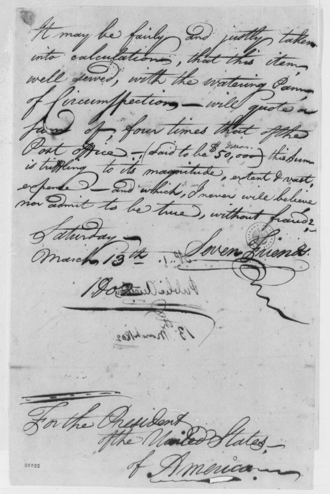 David Fergusson to Thomas Jefferson, March 13, 1802, Statement of Public Auction