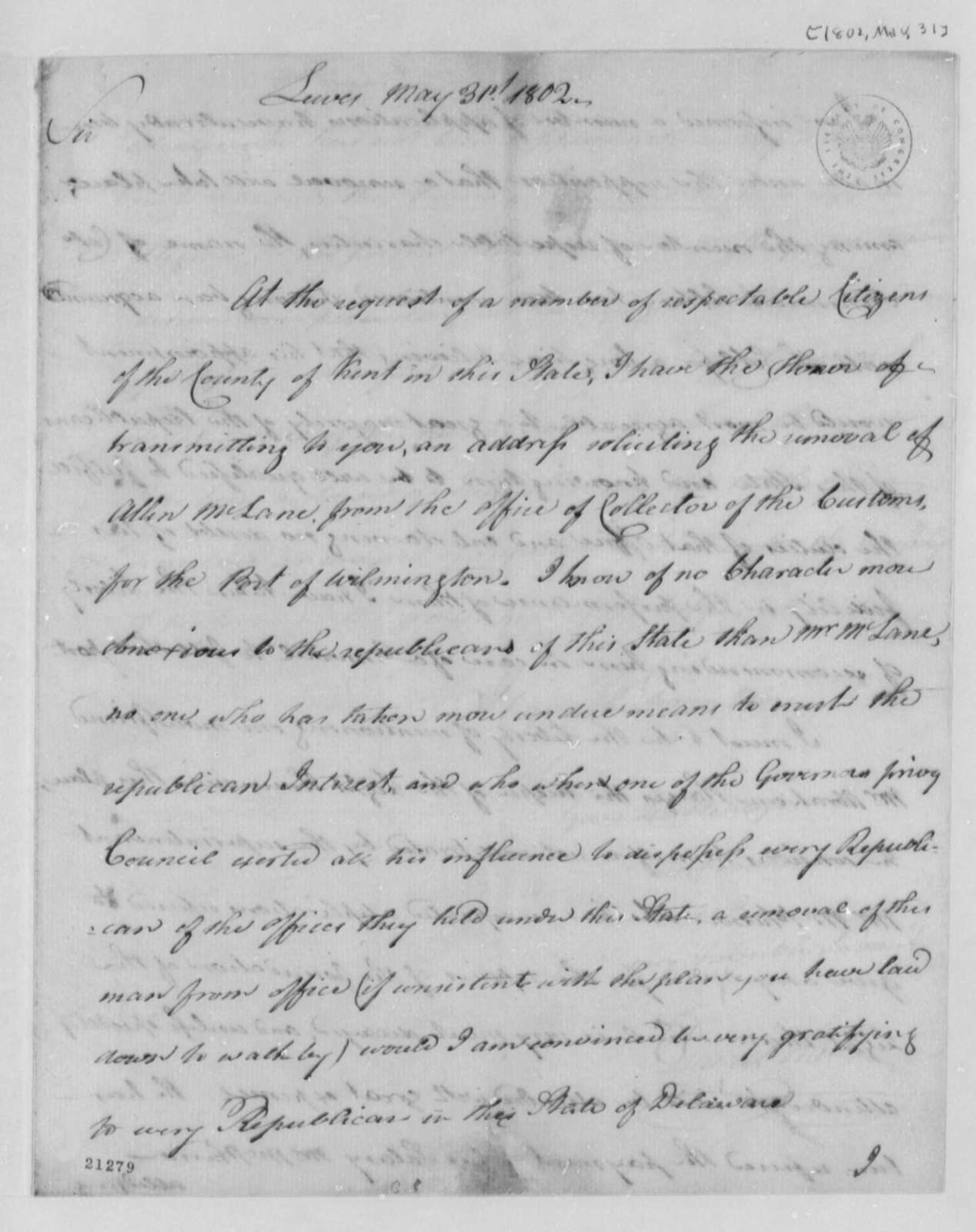 David Hall to Thomas Jefferson, May 31, 1802, Address