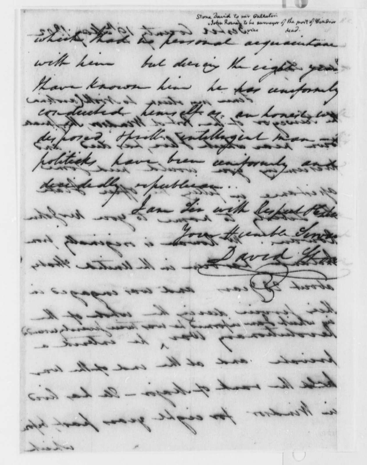 David Stone to Albert Gallatin, May 19, 1802