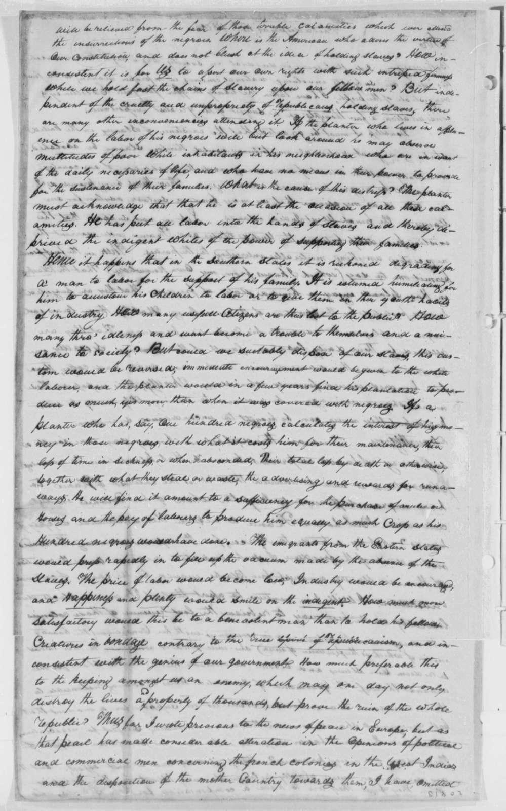 Davis Lummis to Thomas Jefferson, February 15, 1802
