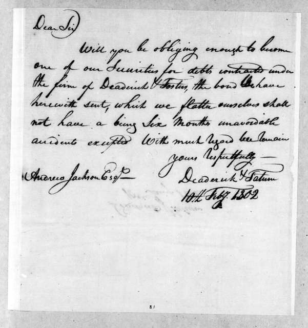 Deaderick & Tatum to Andrew Jackson, February 10, 1802