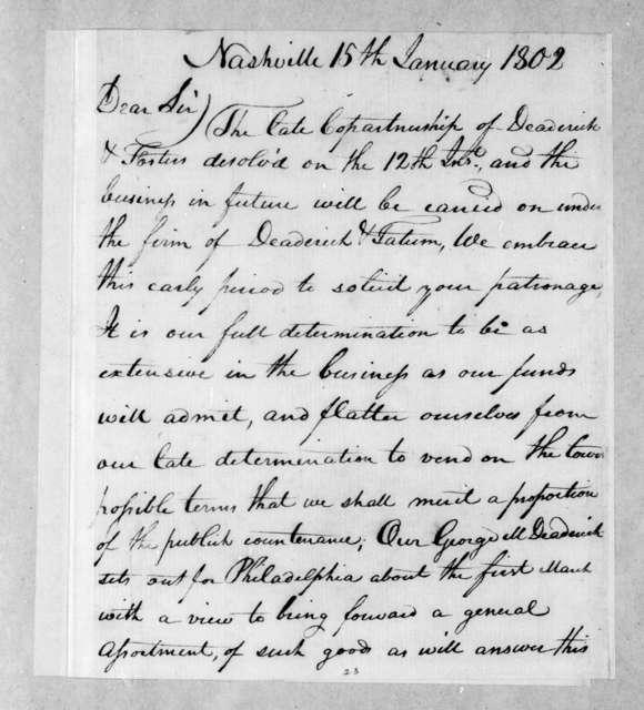 Deaderick & Tatum to Andrew Jackson, January 15, 1802