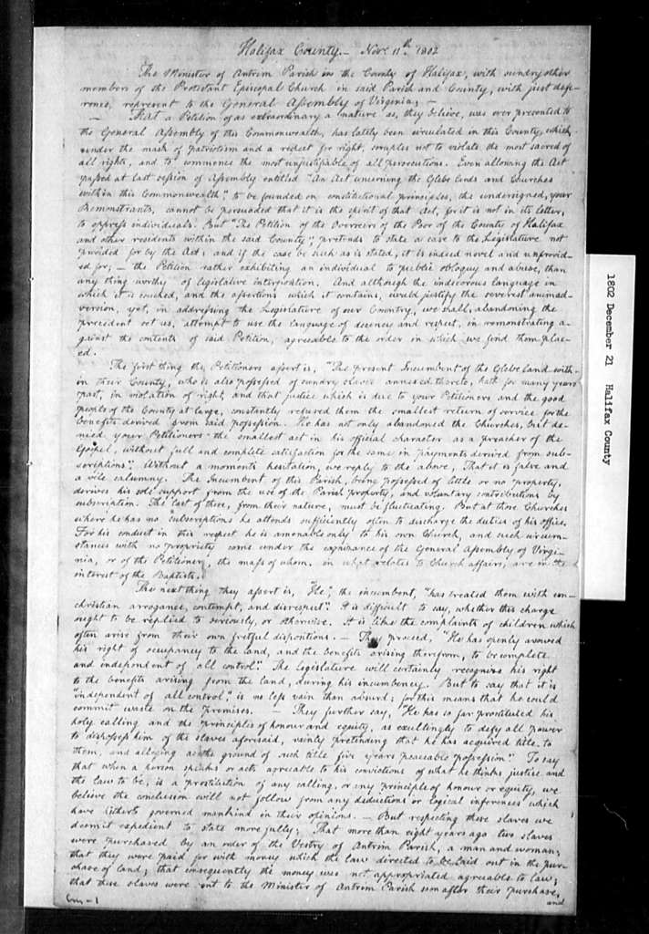 December 21, 1802, Halifax, Alexander Hay, minister of Antrim Parish, opposed to his dispossession from glebe. [This petition dated Dec. 16 in J.H.D., endorsed as Dec. 21]