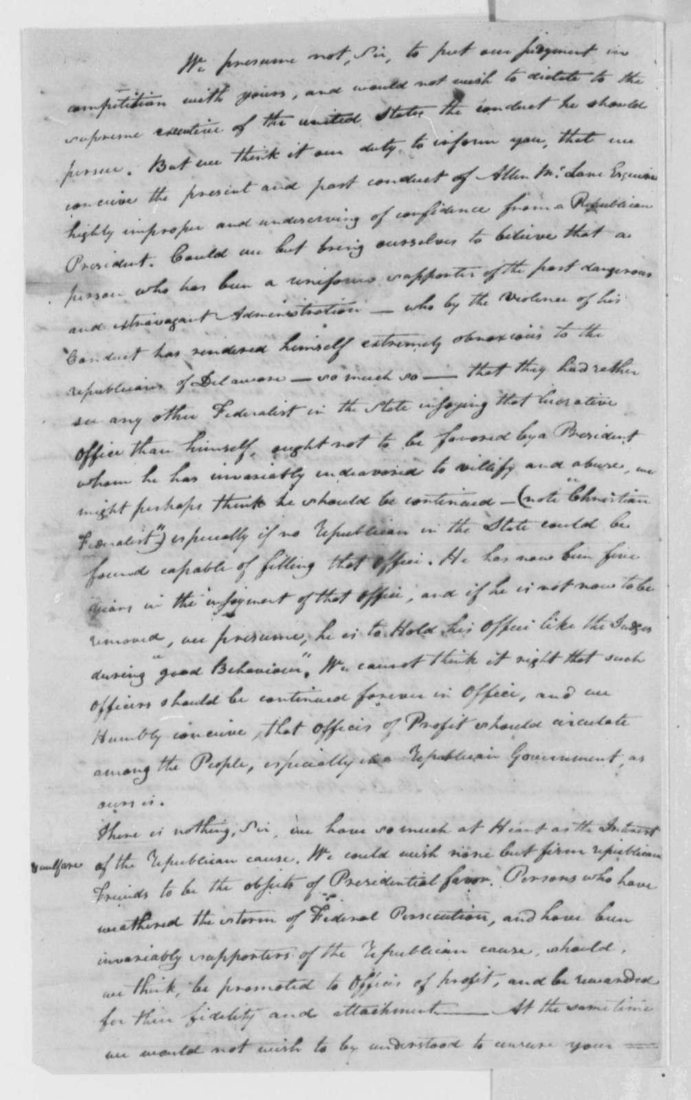 Delaware Democratic Republicans to Thomas Jefferson, March 24, 1802, Resolution