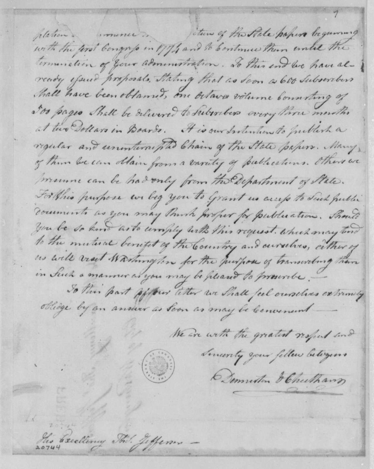 Denniston & Cheetham to Thomas Jefferson, January 30, 1802