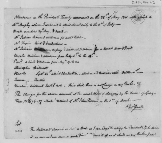 Edward Gantt, March 2, 1802, Statement of Medical Services, Incomplete