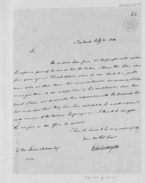 Edward Livingston to James Madison, July 31, 1802