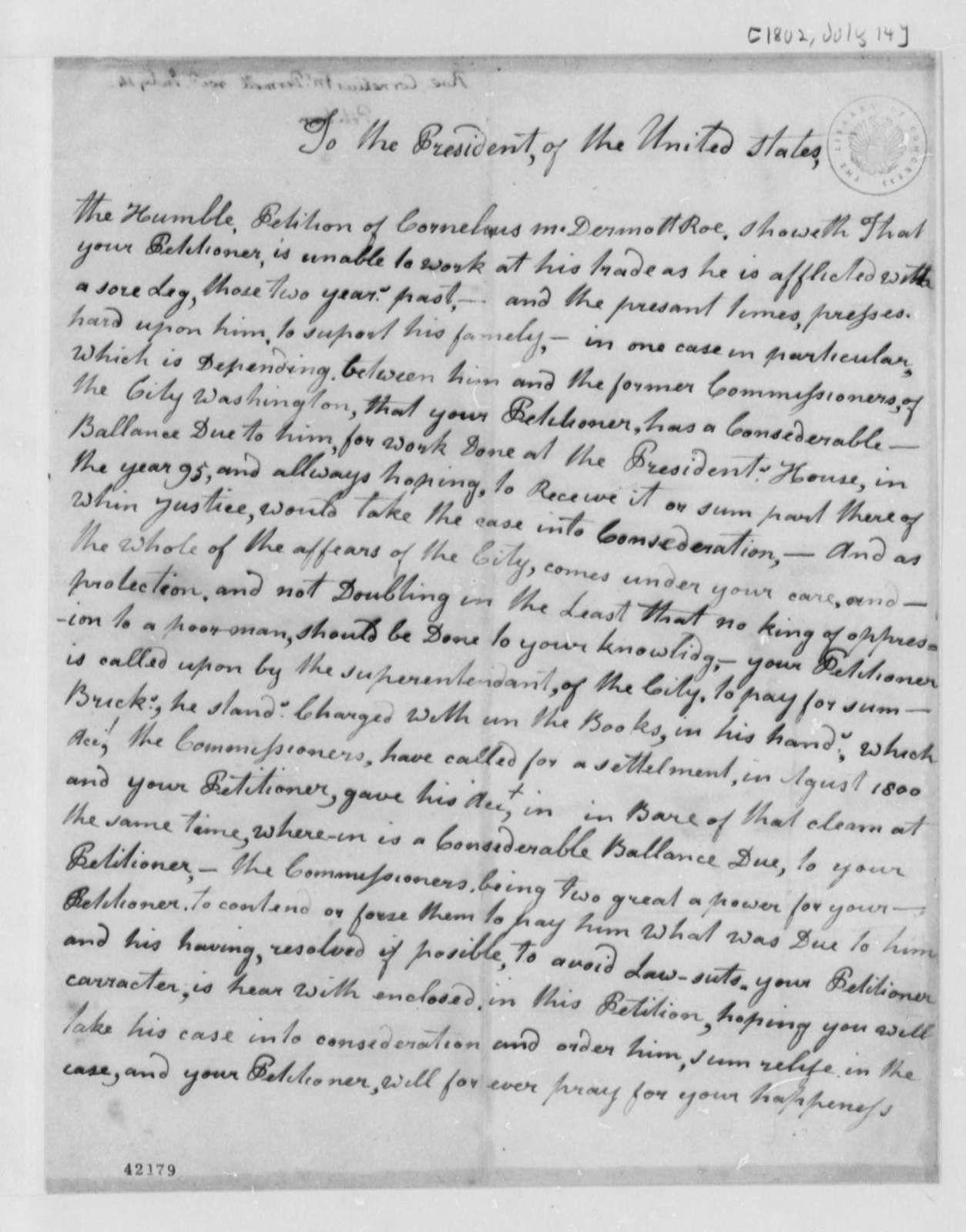 Elius McDermott Roe to Thomas Jefferson, July 14, 1802, Petition