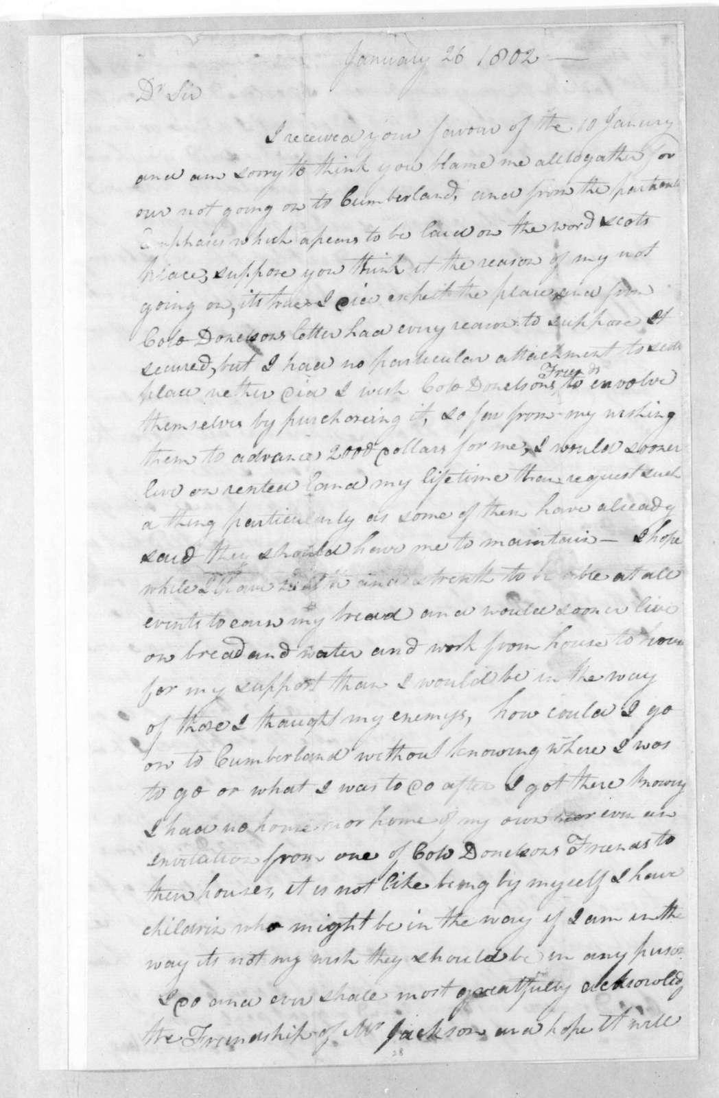 Elizabeth Glasgow Donelson to Andrew Jackson, January 26, 1802