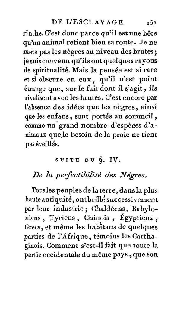 Examen de l'esclavage in général, et particulierement de l'esclavage des Nègres dans les colonies françaises de l'Amérique /