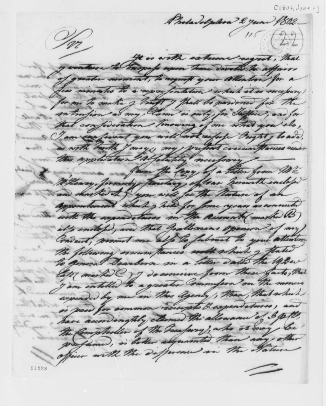 Francis Mentges to Thomas Jefferson, June 2, 1802