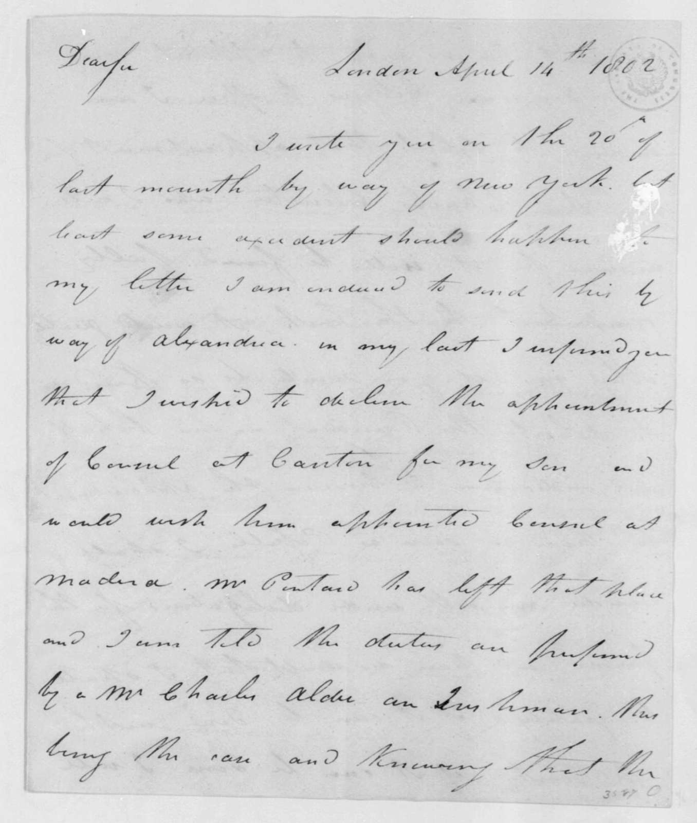 Gabriel Christie to James Madison, April 14, 1802.