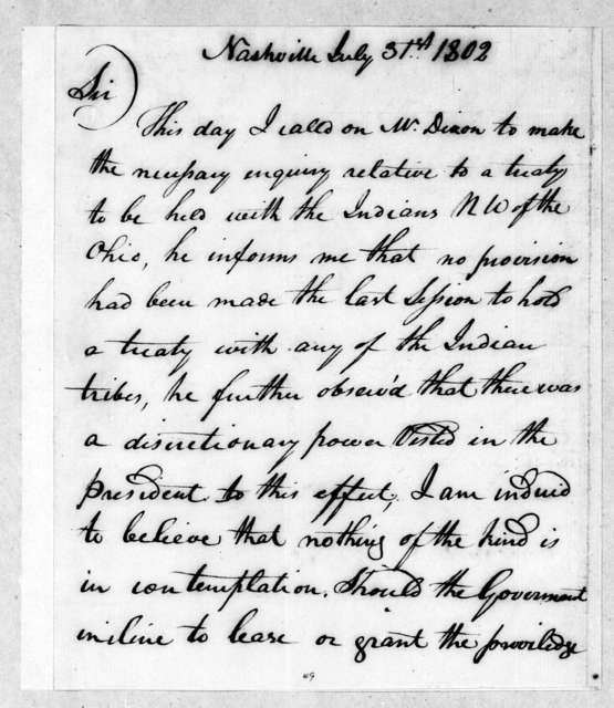 George Michael Deaderick to Andrew Jackson, July 31, 1802