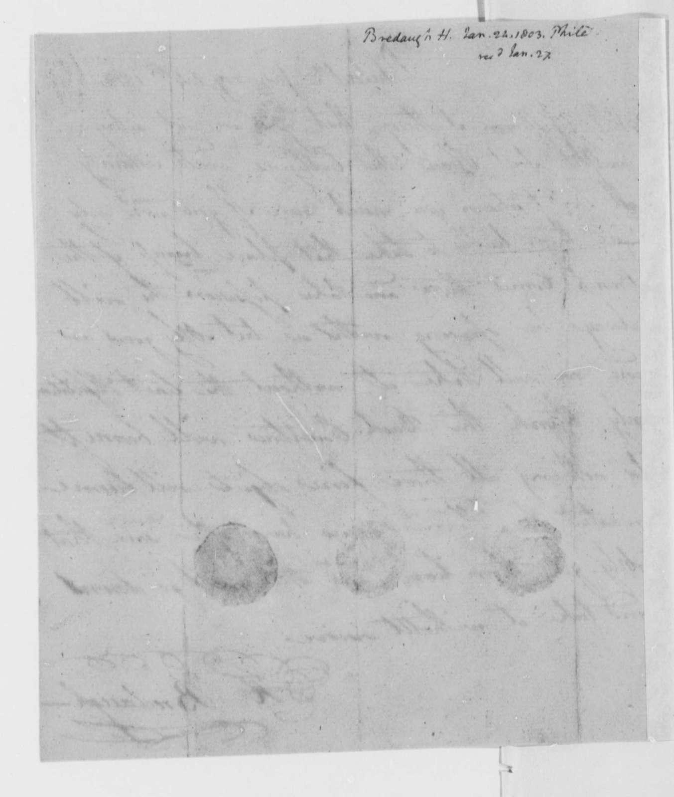 H. Bredaugh to Thomas Jefferson, January 24, 1802