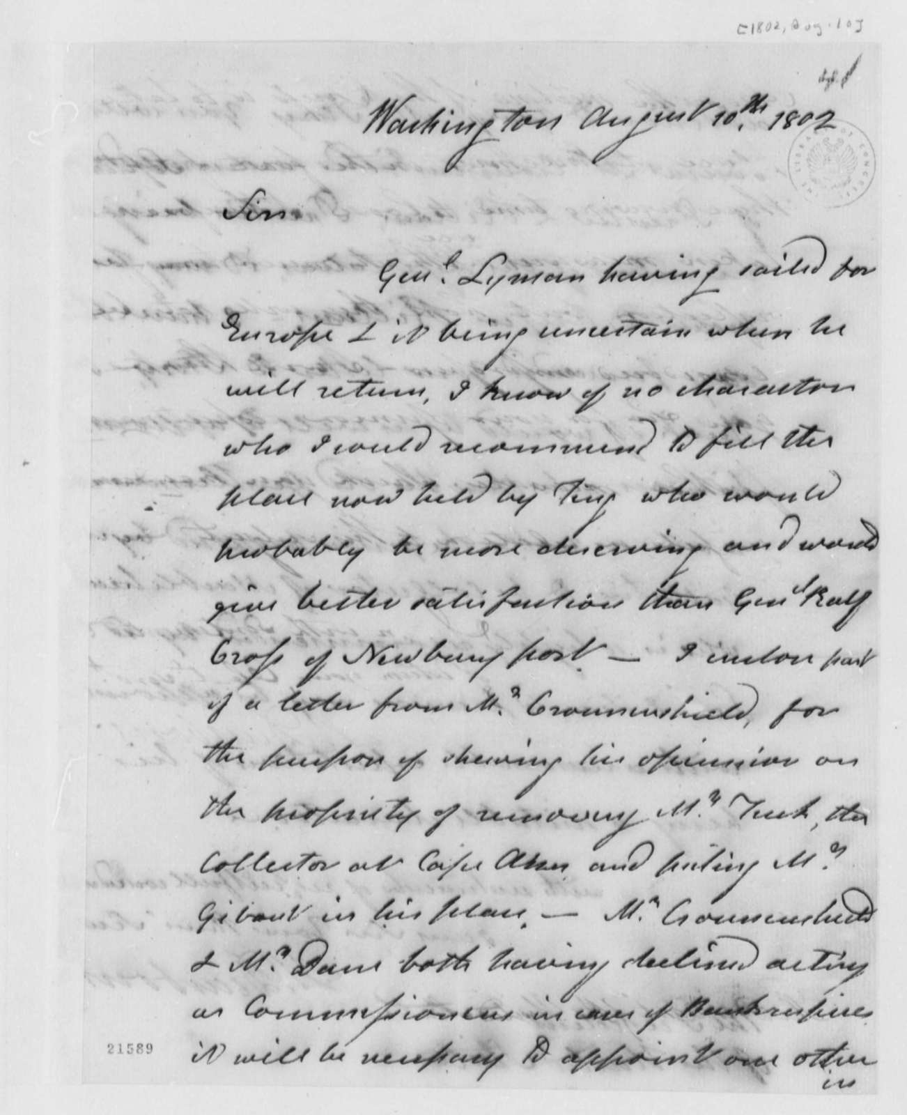 Henry Dearborn to Thomas Jefferson, August 10, 1802