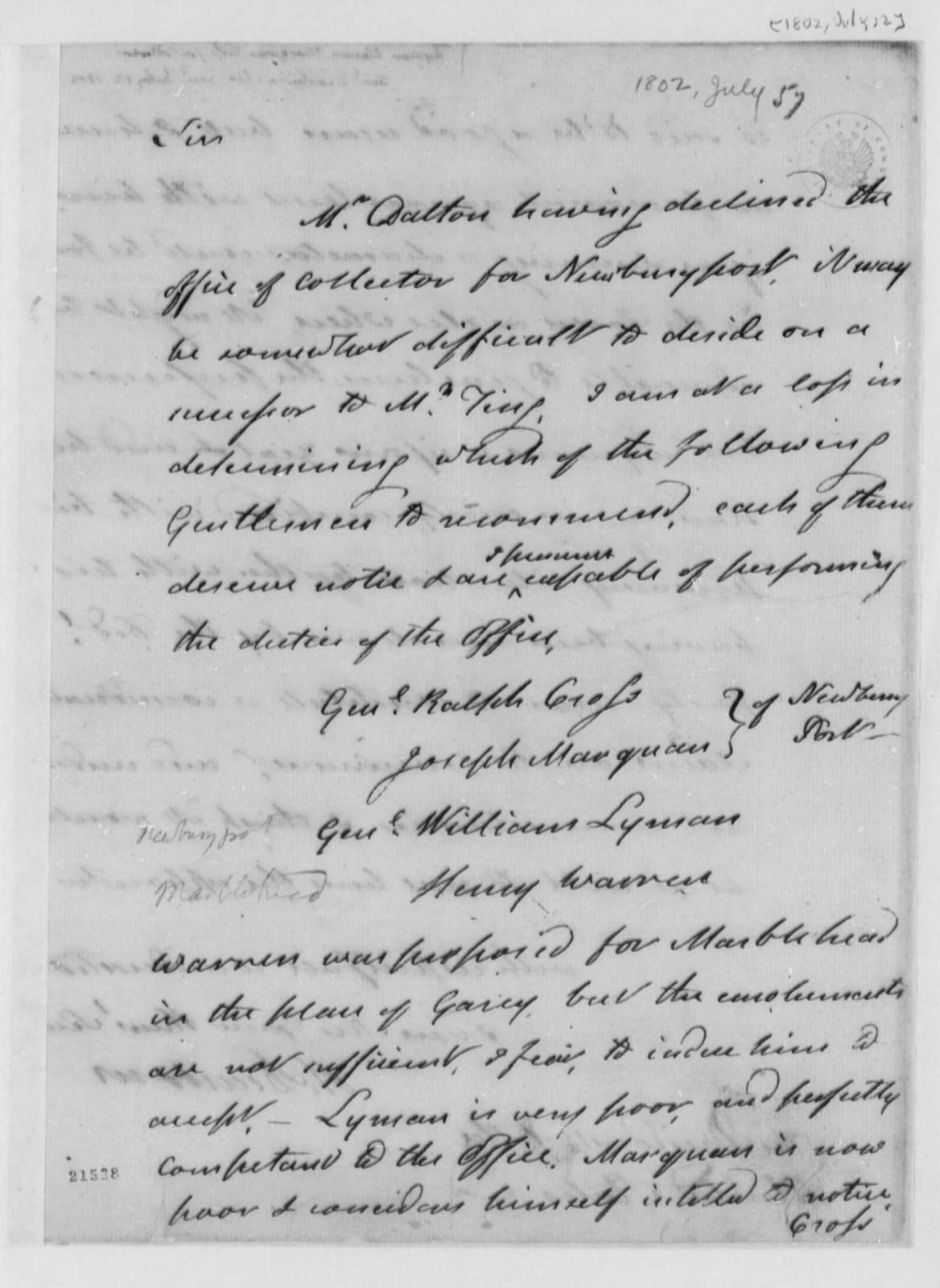 Henry Dearborn to Thomas Jefferson, July 12, 1802