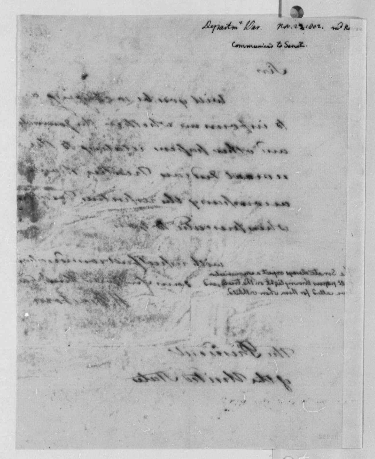 Henry Dearborn to Thomas Jefferson, November 22, 1802