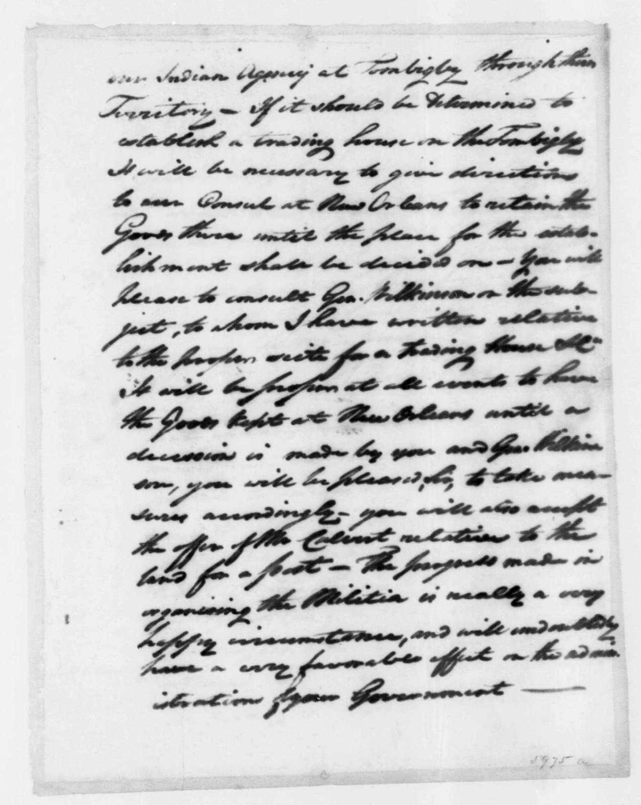Henry Dearborn to William C. C. Claiborne, September 10, 1802. enclosed in Dearborn Sept. 10, 1802 letter to J. Madison.
