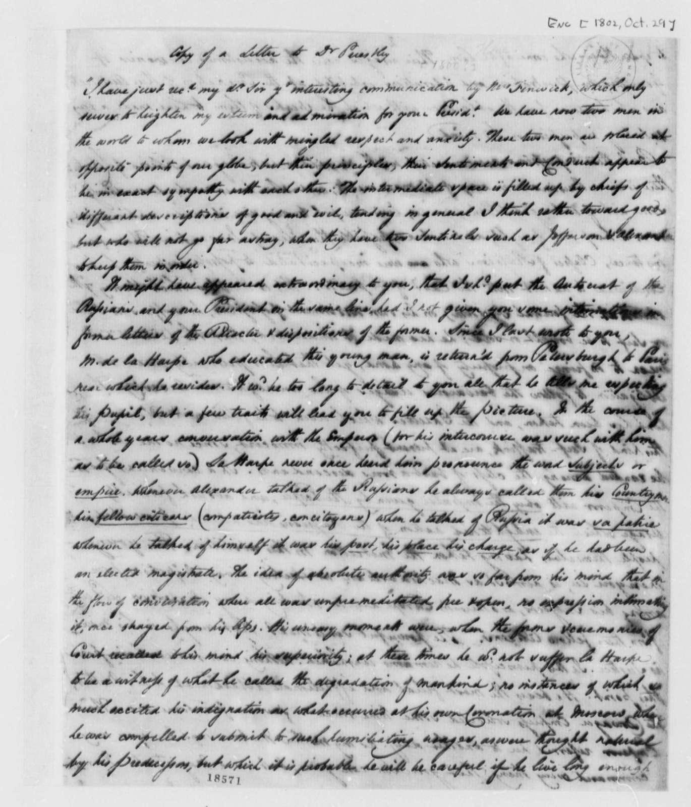 Howe to Joseph Priestley, October 29, 1802