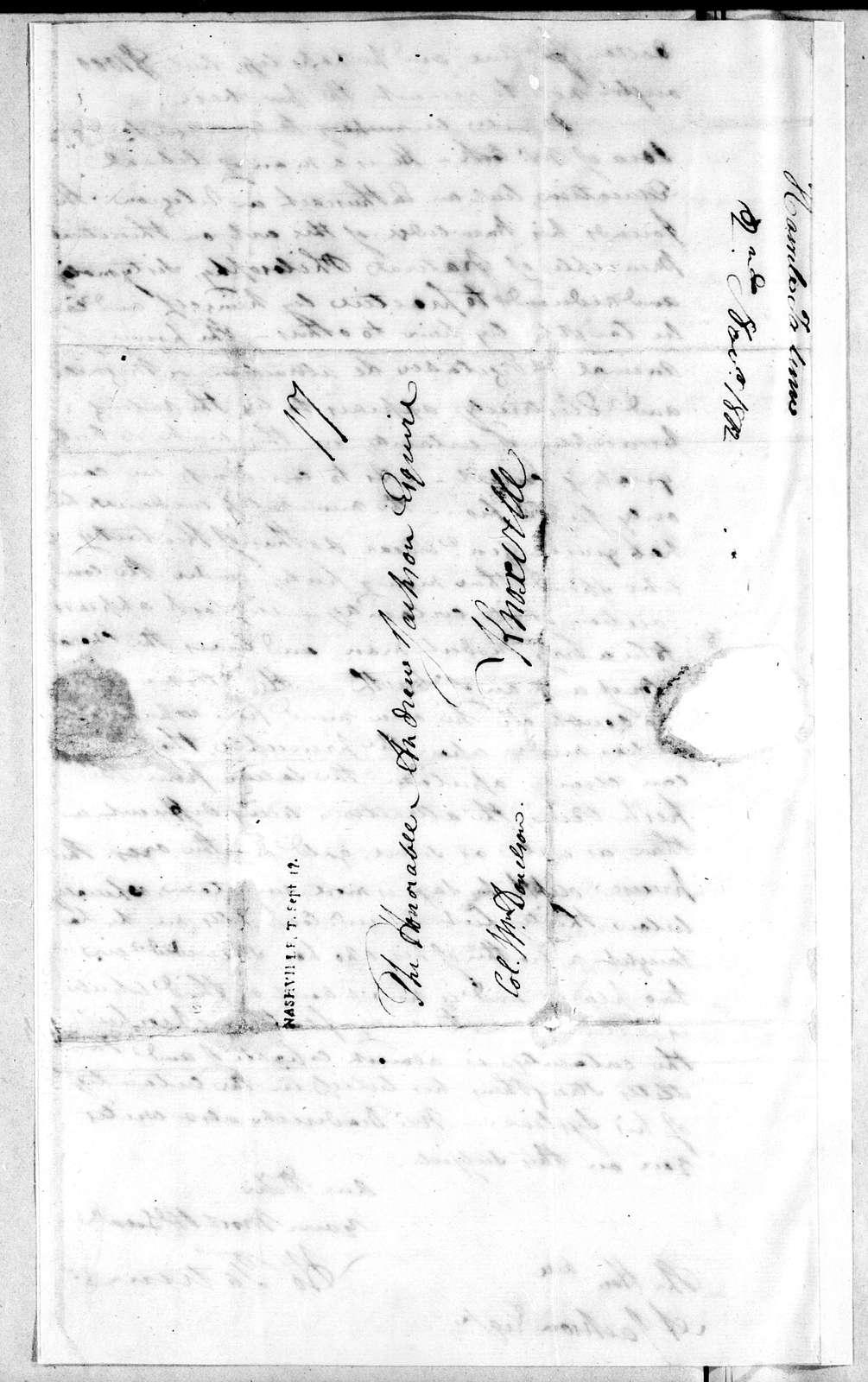 Howell Tatum to Andrew Jackson, September 14, 1802