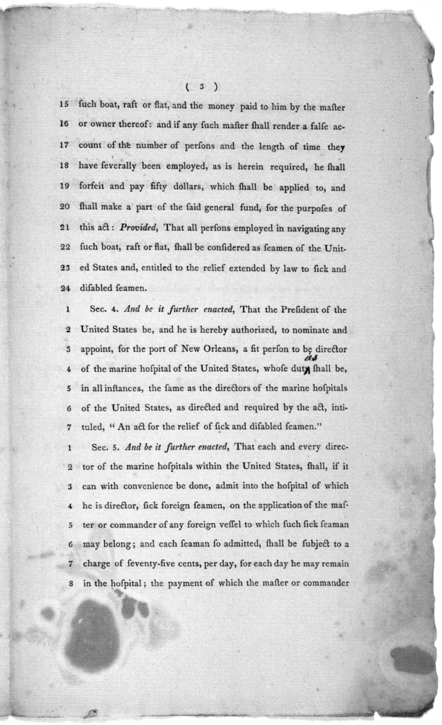 """In Senate of the United States. 14th April, 1802. Passed the House of representatives. An act, to amend an act, intitled, """"An act for the relief of sick and disabled seamen;"""" and for other purposes ... [Washington] Duane printer [1802]."""