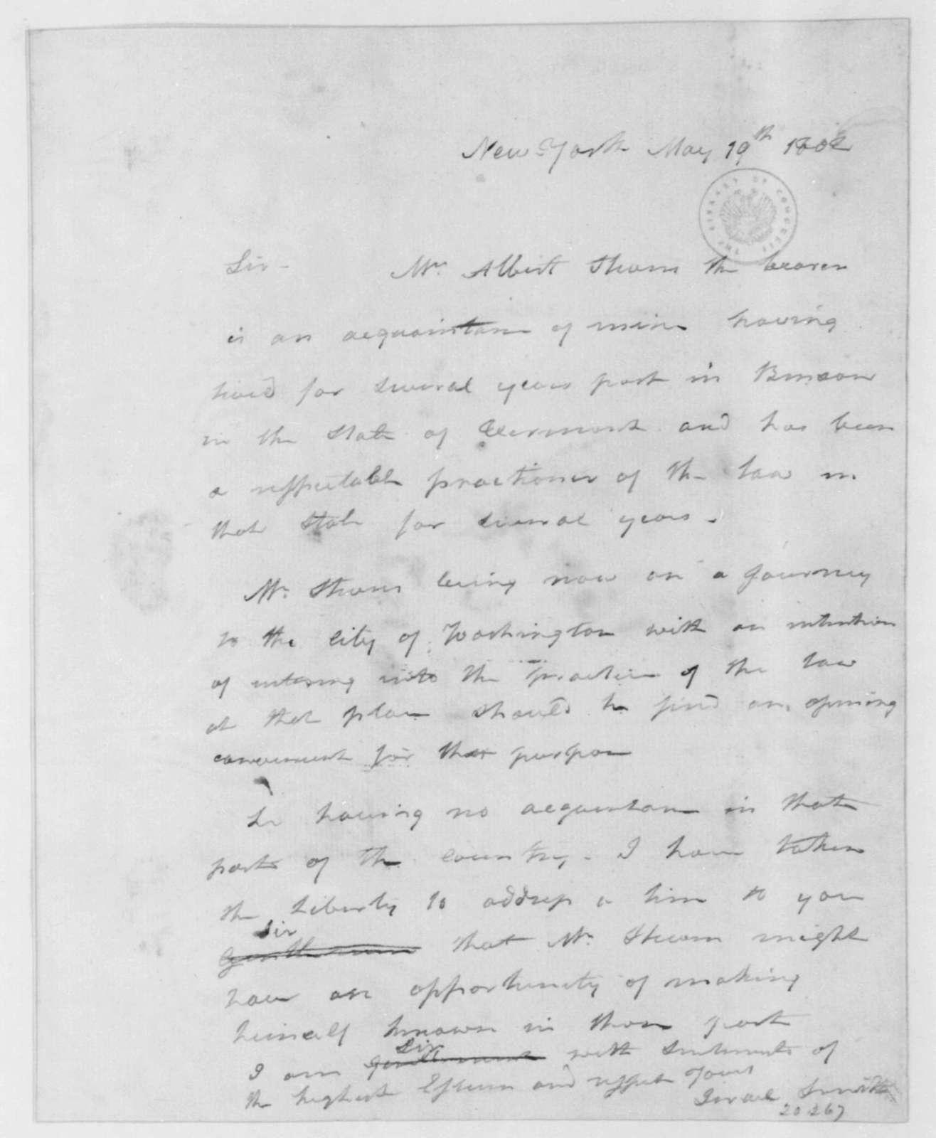 Israel Smith to James Madison, May 19, 1802.