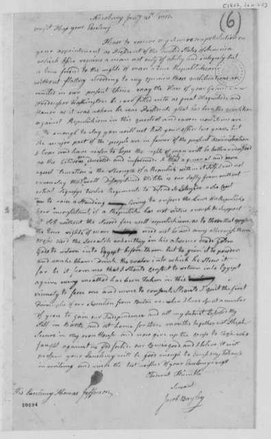 Jacob Bayley to Thomas Jefferson, January 20, 1802