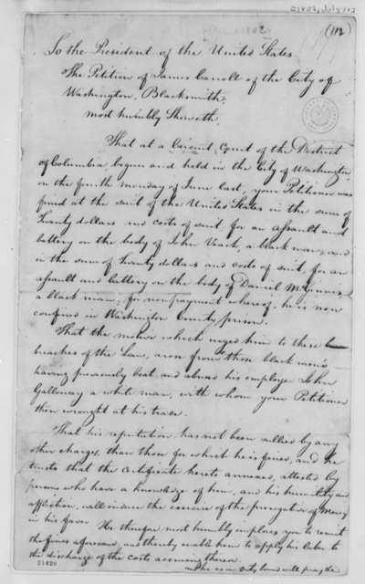 James Carroll to Thomas Jefferson, July 10, 1802, Petition