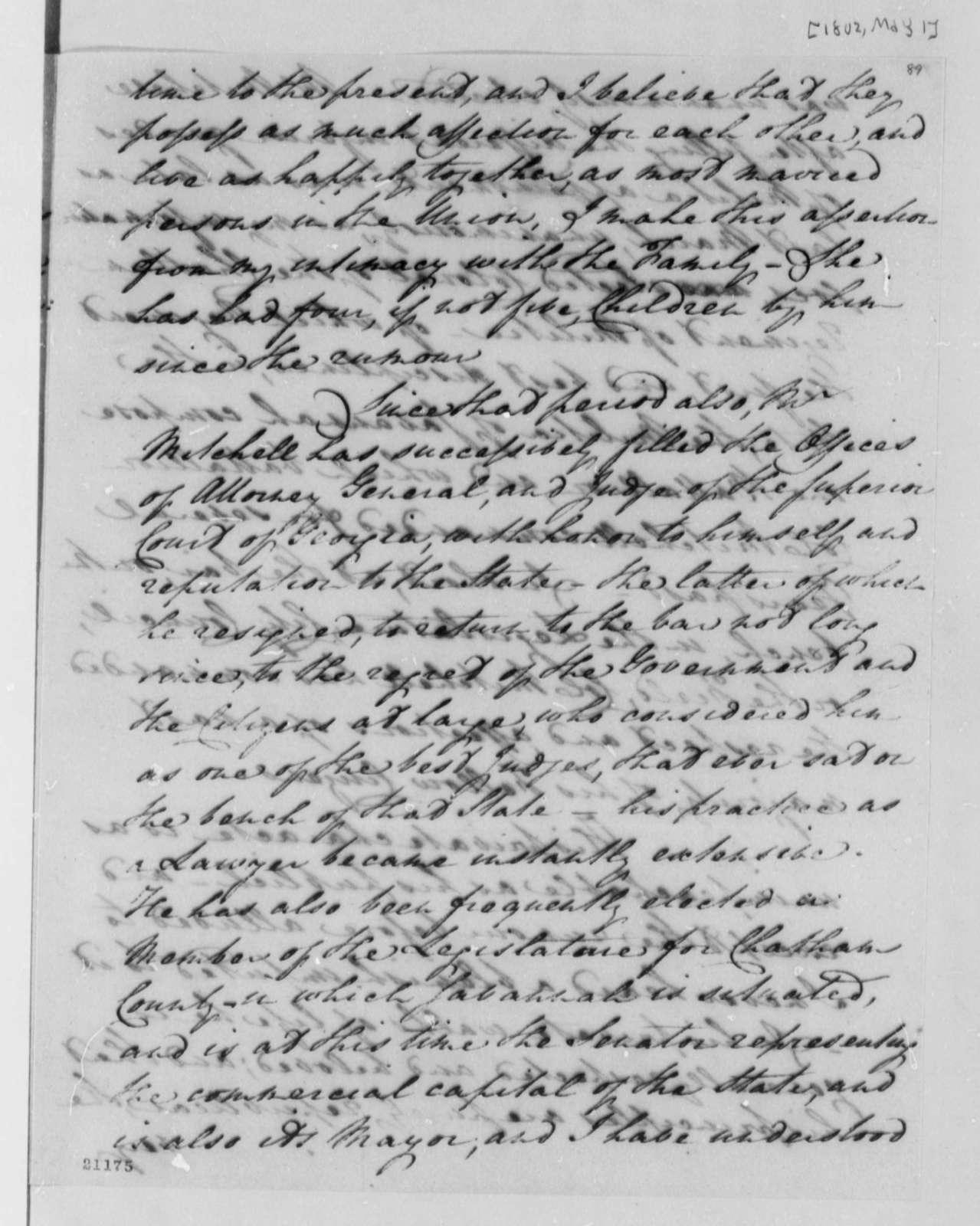 James Jackson to Thomas Jefferson, May 1, 1802