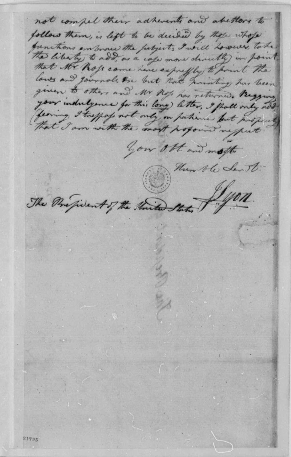 James Lyon to Thomas Jefferson, October 5, 1802