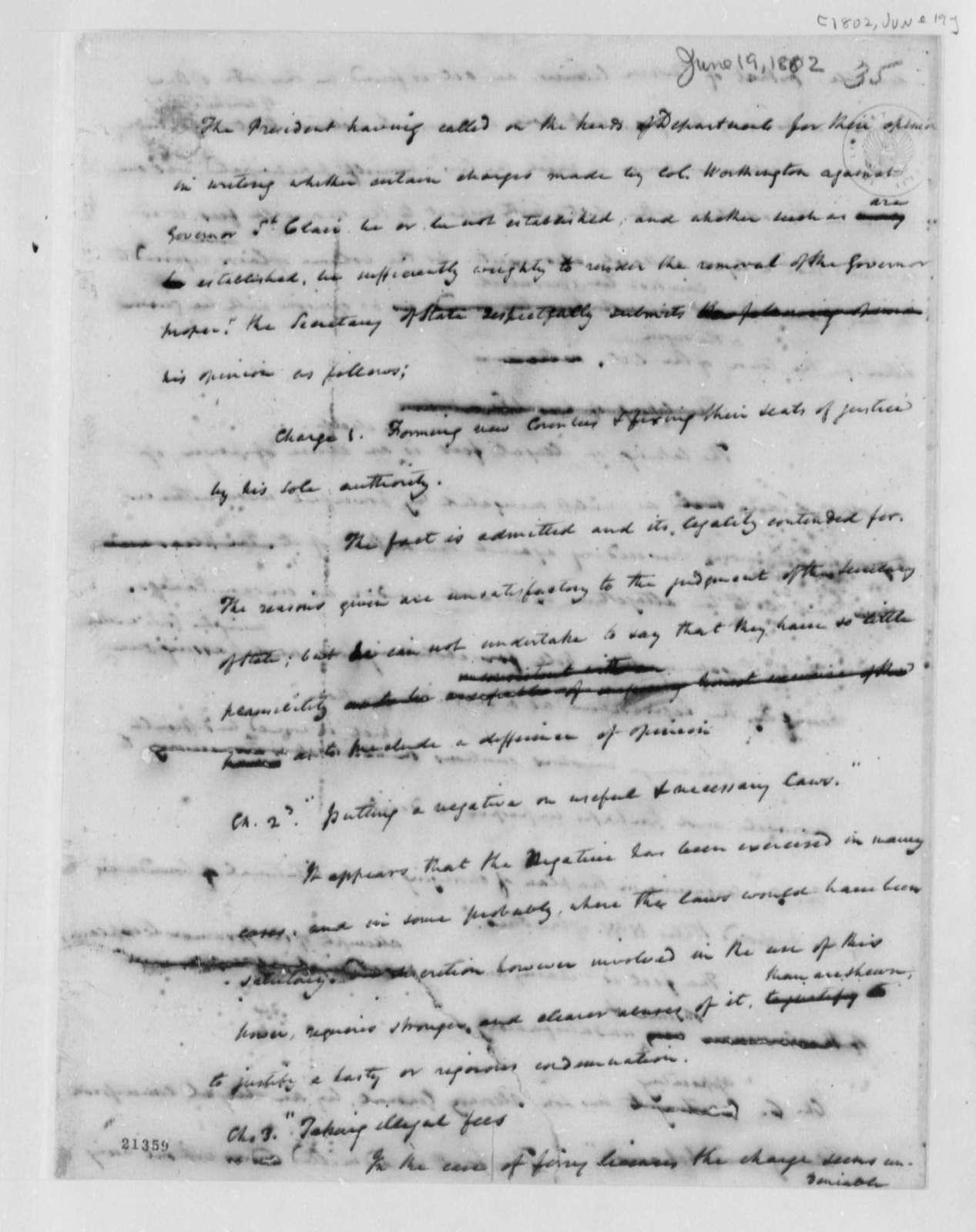 James Madison to Thomas Jefferson, June 19, 1802