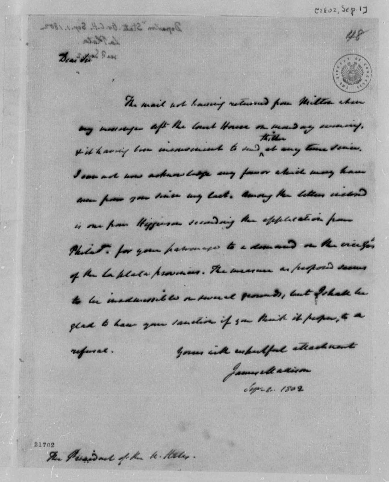 James Madison to Thomas Jefferson, September 1, 1802