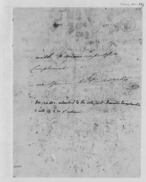 James Mease to Thomas Jefferson, December 19, 1802