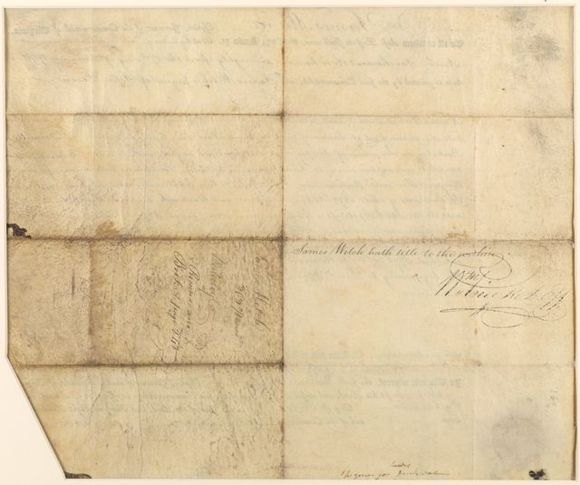 James Monroe Papers: Oversized, 1802-1819, Series 4, Addenda, 1778-1831; 1979-1985 additions; Part A, originals; Correspondence and miscellany; Land deed for James Welch of Berkeley County, Virginia, signed by James Monroe, governor of Virginia, 18 Oct. 1802 (Container 4:1)