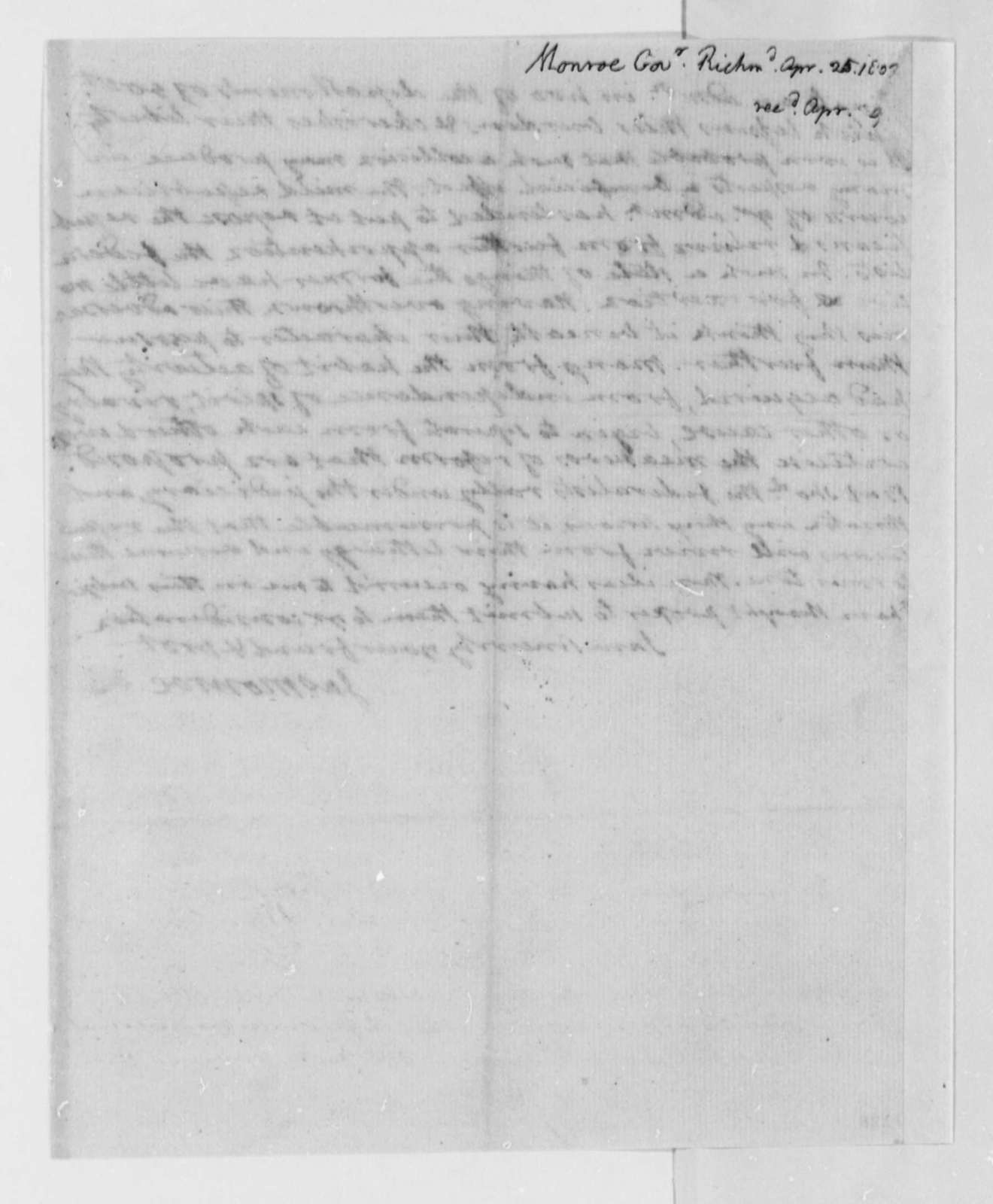 James Monroe to Thomas Jefferson, April 25, 1802