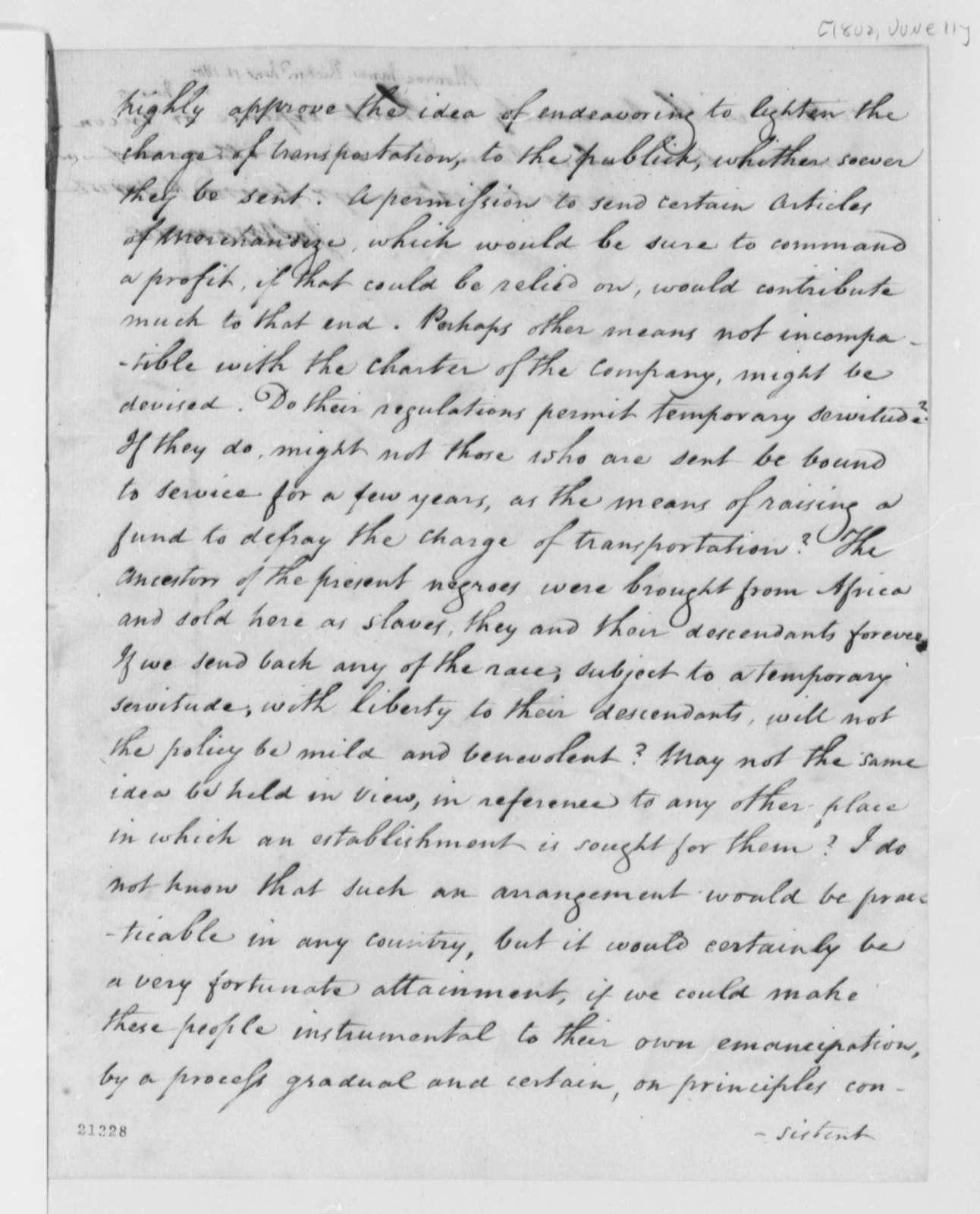 James Monroe to Thomas Jefferson, June 11, 1802