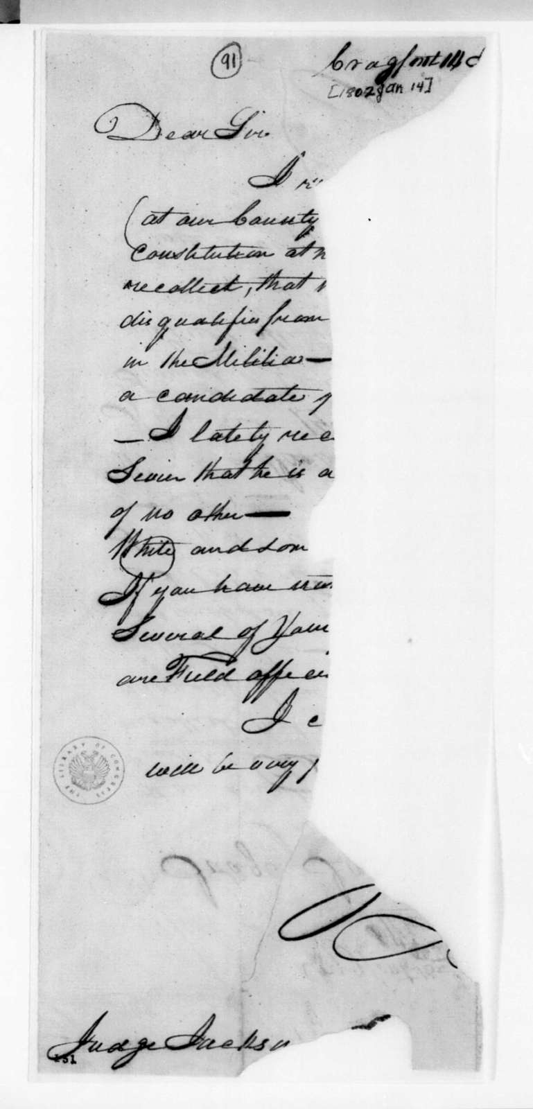 James Winchester to Andrew Jackson, January 14, 1802